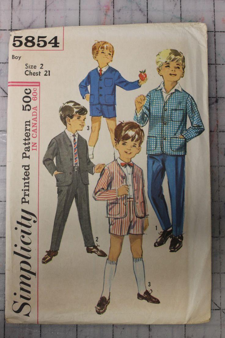 Semplicità 5854 Vintage 1964 ragazzi giacca e pantaloni lunghi e corti - taglia 2 di sugarkitty su Etsy https://www.etsy.com/it/listing/154076464/semplicitagrave-5854-vintage-1964