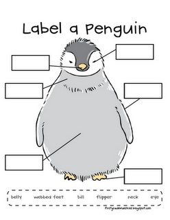 Label a Penguin ... easy to make our own.... better still get the children to draw their own snowman one day .... then draw boxes or lines on for them to write on the next day! LH