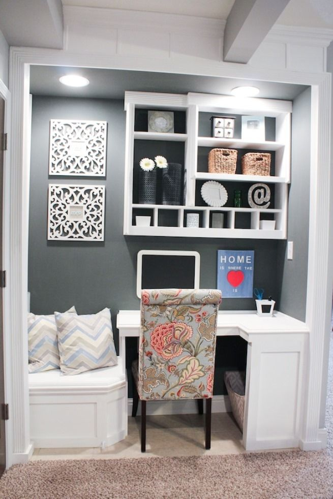 Home made closet into office space. Add additional seating to your tiny workspace.