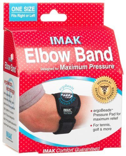IMAK Hand / Elbow Band by Brown Medical. $7.27. The IMAK Tennis Elbow Band is ideal for elbow pain relief. The innovative removable ergoBeads Pressure Pad provides isolated pressure on the affected tendon for maximum pain relief while working or playing.  The buckle and Velcro closure allow for easy adjustment for a perfect fit. For extra relief, freeze the removable pressure pad.