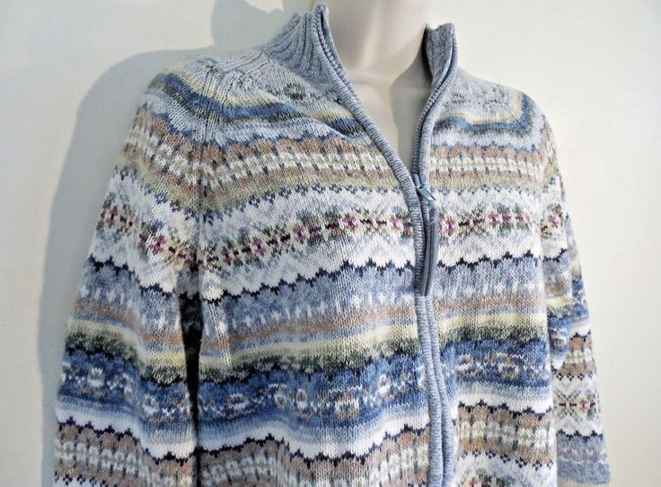 Womens Cardigan Zip Up Cozy Blue Soft Sweater Petite Medium PM - Free Shipping #TiaraInternational #FullZip #Christmas