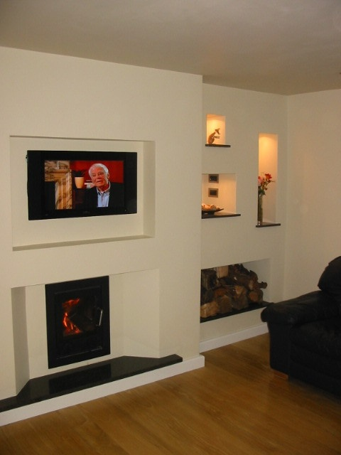 Inset stove with TV above  Extension Stuff  Modern fireplace Inset stoves Stove fireplace