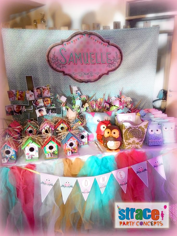 Owl Party Set-up by Strace Party Concepts: Favors and Prizes Table Set-up
