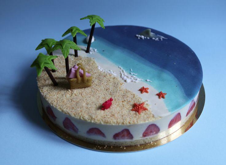 Plage paradisiaque by Pâtisserie Chez Bogato 7 rue Liancourt, Paris 14e. Ouvert du mardi au samedi de 10h à 19h. Tel. 01 40 47 03 51 Cake Design Birhtday cake Gâteau d'anniversaire