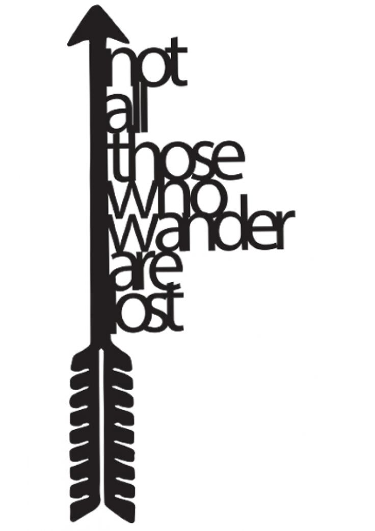 Not All Those Who Wander Are Lost acrylic wall art in black