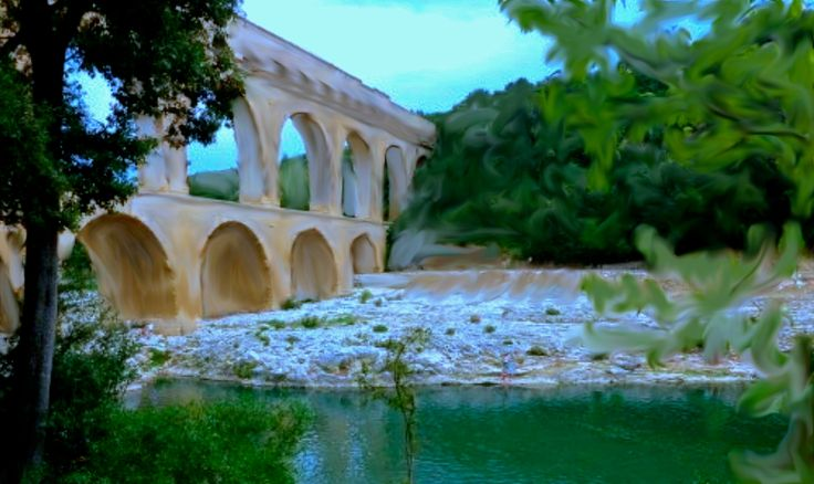 Day 22: Le pont du Gard, France Watercolour on photo. Another souvenir from my trip to Europe... I wondered how the Romans who built this aqueduct/bridge imagined it would look like when finished. So I used watercolour over a photo I took in 2009 to transform it, taking it somewhere between dreams and reality. Digital Art, available for sale. Copyrights Isabelle Doré arts.