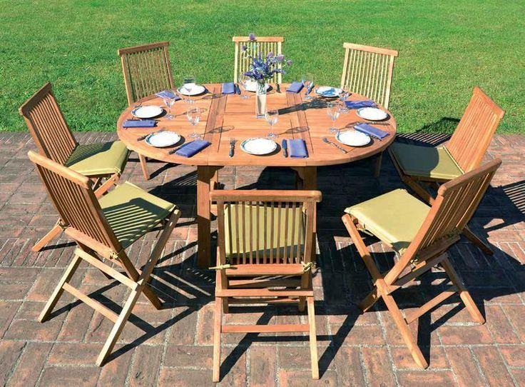 Tavolo da giardino allungabile + 8 sedie in legno di Teak - SET COMPLETO- RT507