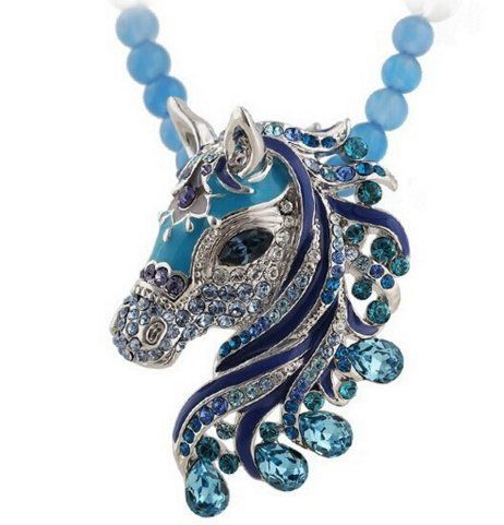 Party Choker Horse Rhinestones Necklace - Pluto99