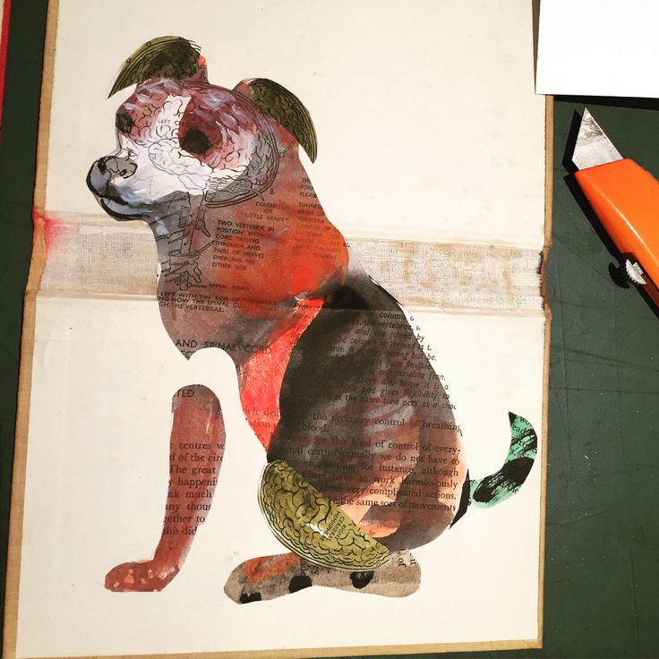 Nancy - Collage altered book dog