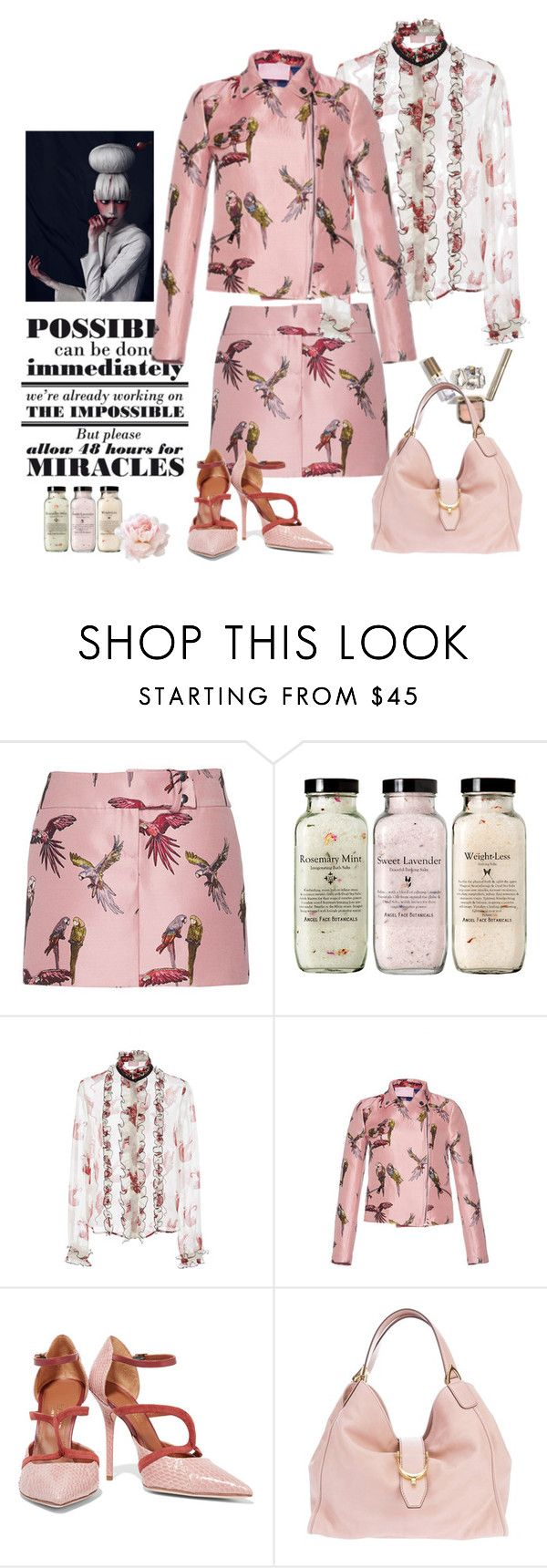 """Busy Bird- summer office look"" by juliabachmann ❤ liked on Polyvore featuring Giamba, Malone Souliers and Gucci"