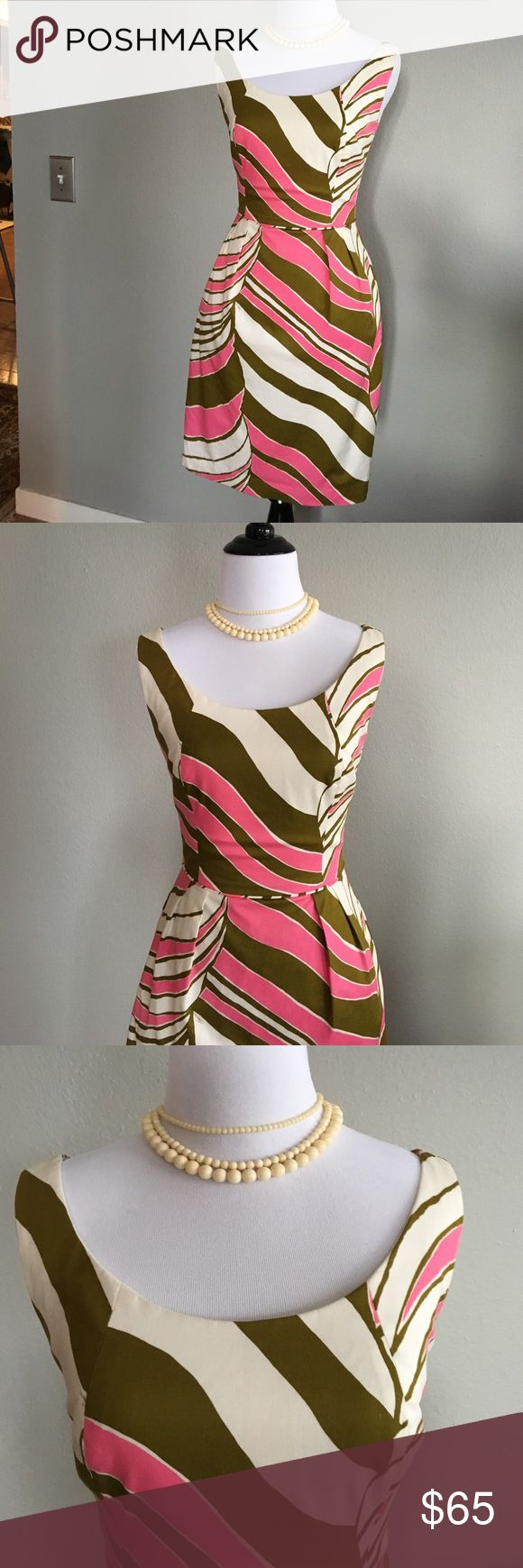 Trina Turk Dress sz 4 pink cream olive Trina Turk Dress sz 4 pink cream and olive. Has pockets and a built in slip. Very nice dress in excellent condition. No damage to note. Worn 1x. Bust = 32.5. Waist = 25.5. There is some stretch to the material. Trina Turk Dresses