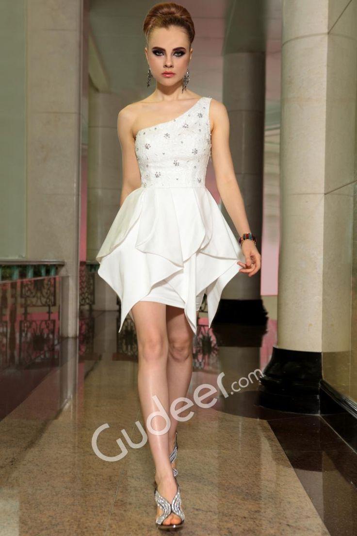 White Short One Shoulder Sleeveless Beaded Ruffled Cocktail Homecoming Dress