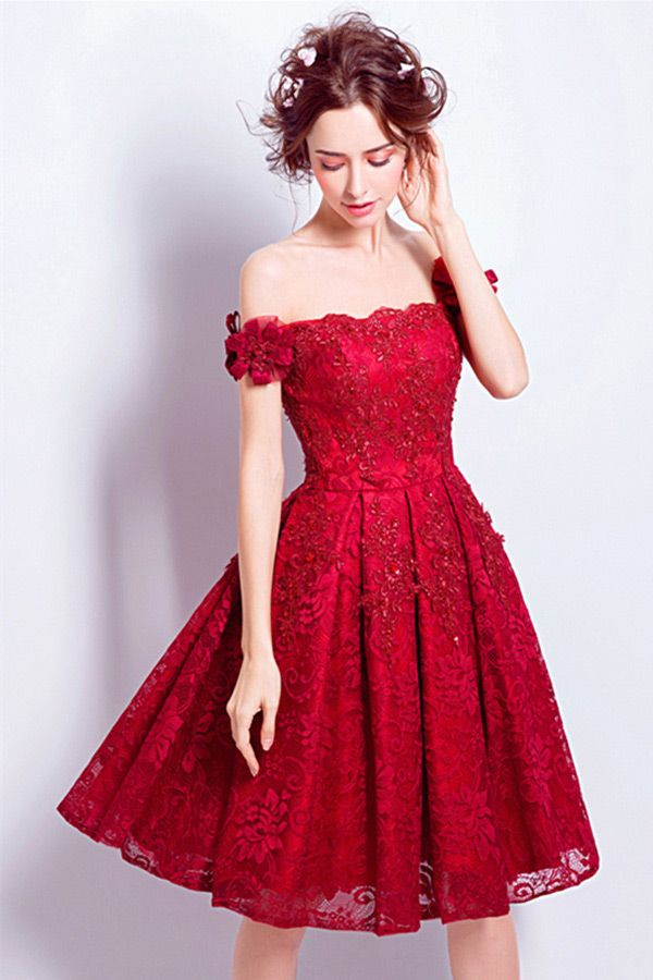 Off The Shoulder Red Short Wedding Dresses Lace Reception A Line Style With Beading Tj014 119 Gemgrace Com Short Wedding Dress Short Lace Wedding Dress Homecoming Dresses