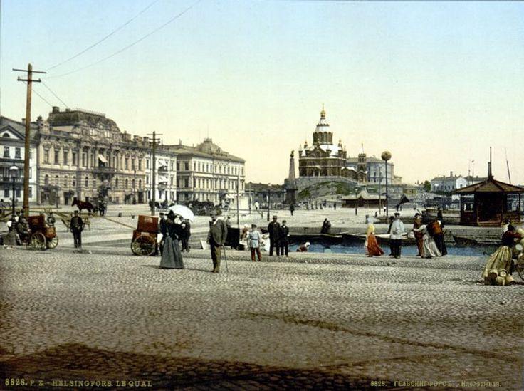 Helsinki quay ca 1890-1900, with presidential castle and Uspenski Orthodox Cathedral.