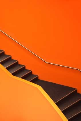 Orange and Yellow interiors | orange stair - dynamic contemporary modern orange staircase