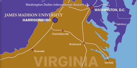 The JMU campus is in the north of the State of Virginia, near the border with West Virginia.