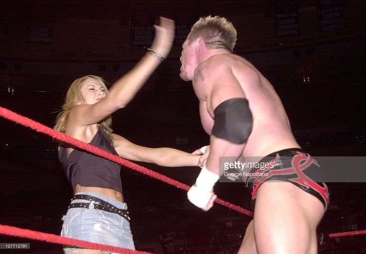 Actress and wrestler Stacy Keibler slaps Andrew 'Test' Martin during a match on 2003 in Madison Square Garden in New York City.