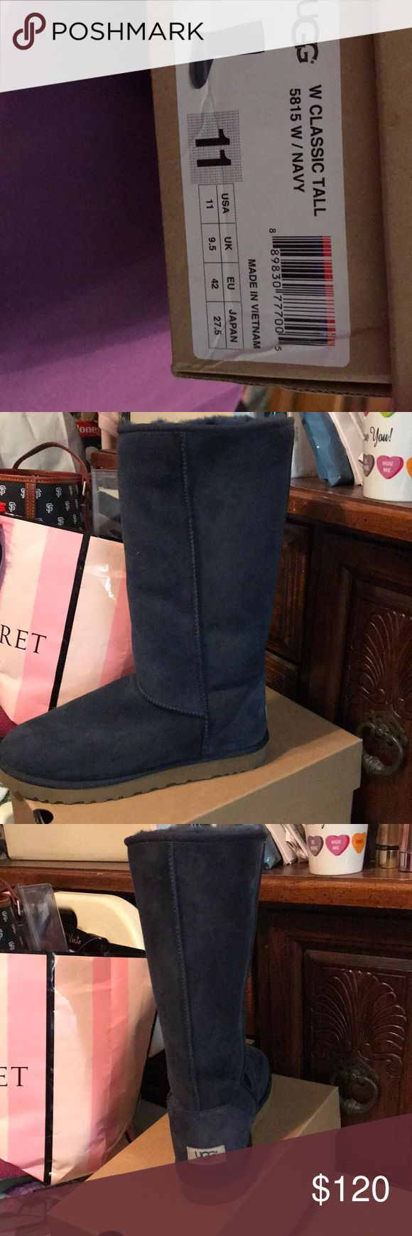 UGGS Tall navy blue UGGS UGG Shoes Winter & Rain Boots
