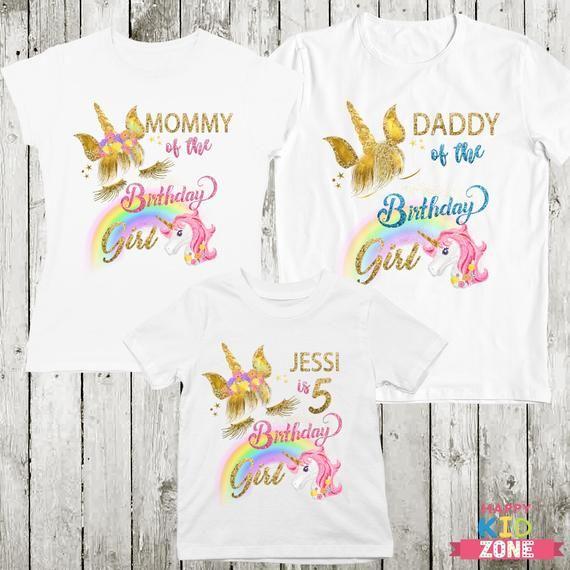 Boy Girl Tee Girls Unicorn Birthday Shirt Kids Personalized flower unicorn