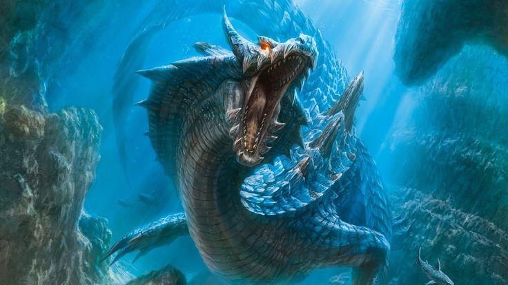 dragons fantasy art artwork lagiacrus monster hunter 3 underwater 1920x1080 wallpaper Wallpaper HD