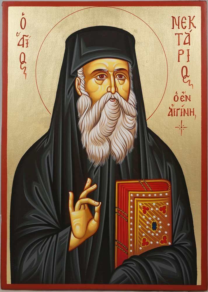 Saint Nektarios of Aegina hand-painted Byzantine icon
