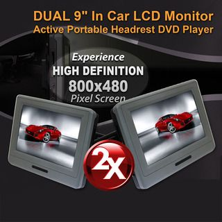 """2X9"""" In car LCD Monitor Active Headrest Portable DVD Player Game HD Digital Screen"""