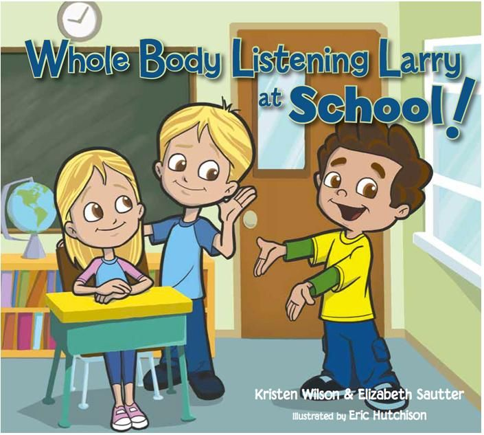 "Whole Body Listening Larry at Schoolcan be helpful in teaching your child how to listen better using the concept ""whole body listening"".  This book is written by two speech language pathologists, Elizabeth Sautter and Kristen Wilson, both have had extensive experience working with children with special needs. http://parentingspecialneeds.org/article/436"