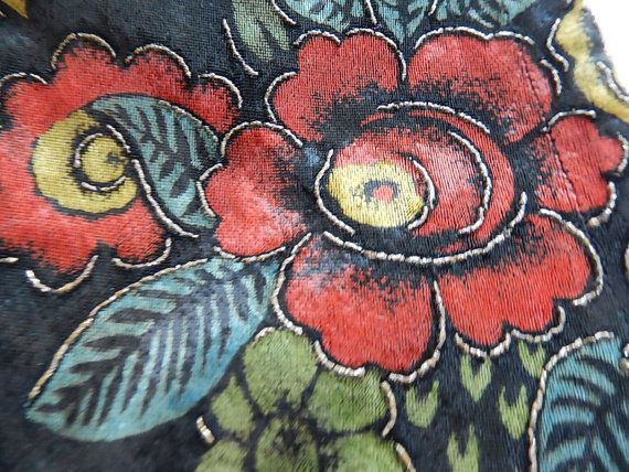 Vintage printed art deco silk velveteen fabric fragment hand painted gold…