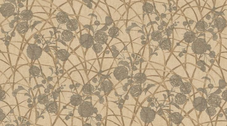 Sumi (MOS02001) - Zoffany Wallpapers - A delicate and ornamental design of metallic bronze chrysanthemum blossoms and golden long grasses on a dusty mink vinyl, embossed with a silk effect. Additional colourways also available. Please request a sample for true colour and texture match.