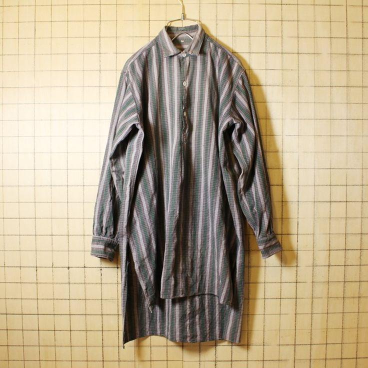 50s 60s ビンテージ グランドファーザーシャツ フランス製 古着 グリーン グレー チェック グランパ プルオーバー メンズML ビッグシルエット
