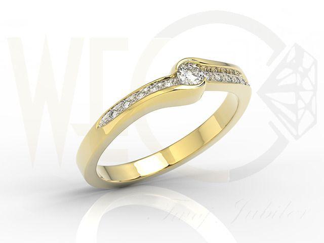 Pierścionek z żółtego złota z brylantami / Gold ring with diamons / 2219 PLN / #engagement #ring #gold #diamonds #luck #gift