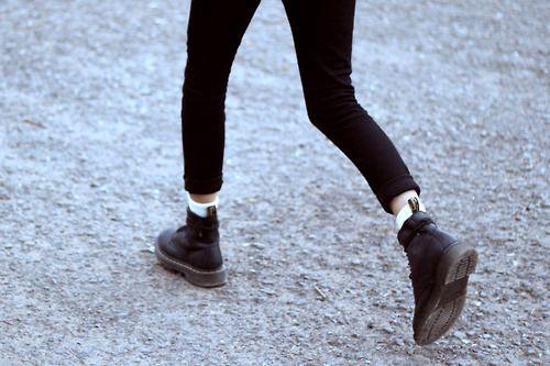 black skinny jeans, white socks and black doc martens