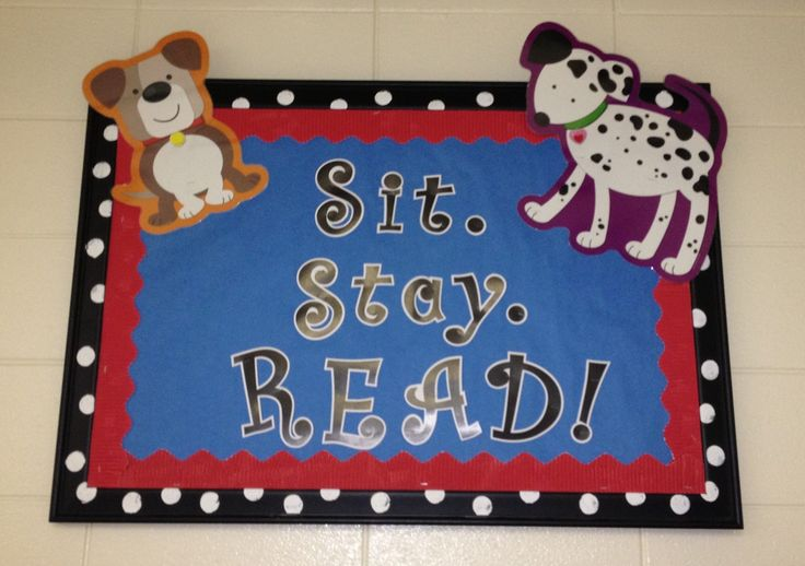 Close up of reading corner rules. My classroom has a dog theme (Paws & Polka Dots). Sit. Stay. READ!