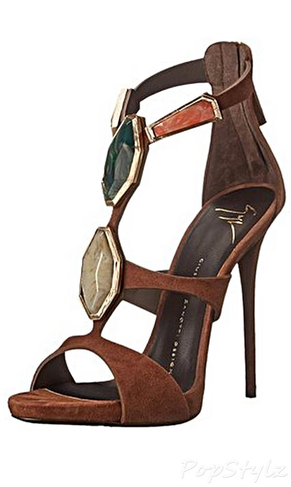 Giuseppe Zanotti Stone Ornaments Italian Leather Dress Sandal