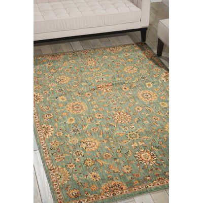 "Kathy Ireland Home Gallery Ancient Times Teal Area Rug Rug Size: 5'3"" x 7'5"""