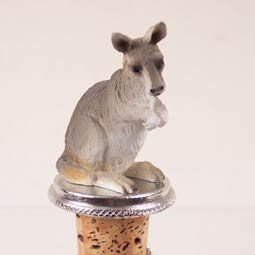 "Kangaroo Bottle Stopper by Conversation Concepts. $12.49. Appx. 3"" to 3 1/2"" tall Weight: Appx. 2.5 oz.. Your favorite animal will be the toast of the town on these pewter-base, cork bottle stoppers, designed to fit any standard bottle. Each comes with it's own velvet drawstring pouch - so they're ideal for gift giving!   Size: Appx. 3"" to 3 1/2"" Tall"