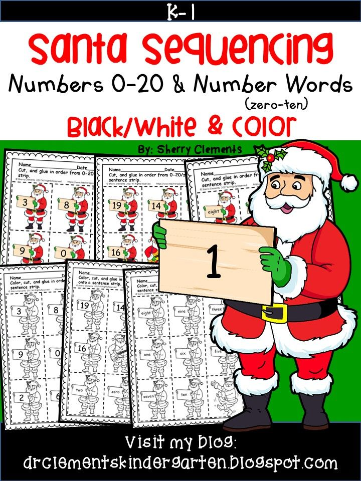 Santa - Numbers (0-20) and Number Words (zero-ten) Sequencing - December - Christmas - Math Center  Students can sequence numbers 0-10, 11-20, or 0-20 depending on the level of each student. Students who already know these numbers can work on sequencing number words zero-ten.