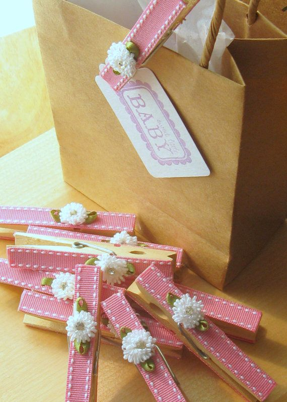 Last Set - Designer clothespins - set of 10 - baby pink crystal rhinestone flowers decorated clothespins baby shower favors