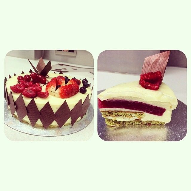 White chocolate mousse layered with pistachio cake and red currant jelly