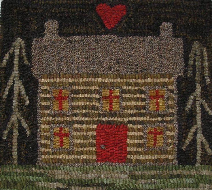 Hand Made Primitive Hooked Rug Log Cabin Folk Art Early Style | eBay