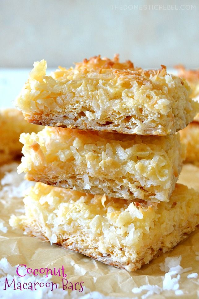 These FOUR INGREDIENT Coconut Macaroon Bars taste just like macaroon cookies but in convenient, easy, crowd-pleasing bar form! Chewy, a little crisp with sweet, nutty coconut flavor in every bite!