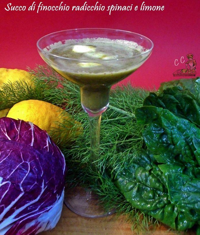Succo di finocchio radicchio spinaci e limone una ricetta facile veloce sana e utile per il nostro intestino che ha bisogno di purificarsi e disintossicarsi