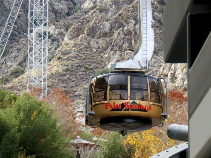 Cable car of the Palm Springs Aerial Tramway at Mt San Jacinto - Palm Springs California