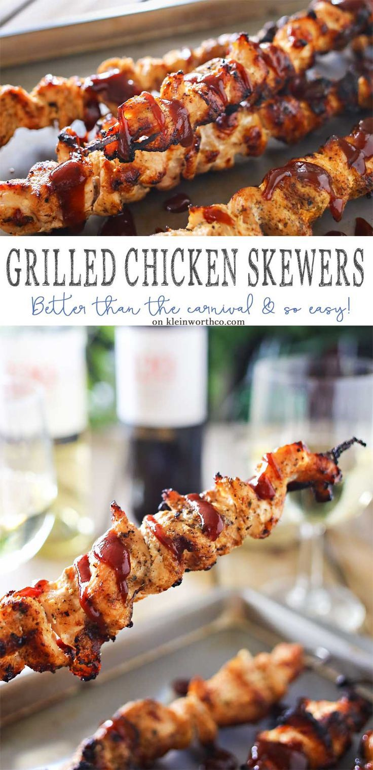 Grilled Chicken Skewers are a fun & easy grilled chicken recipe that's better than you find at the carnival. Seasoned to perfection & oh so delicious! #120DaysOfSummer #ad