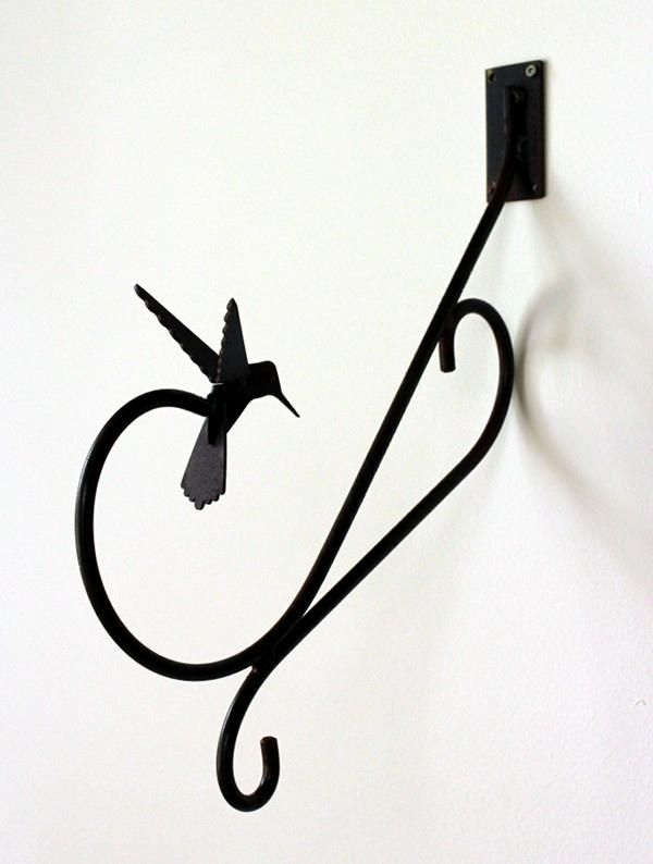 "MH004   Hummingbird Wall Hanger. 15"" Length. Steel with rust finish. Made in Canada.  Made in Canada"