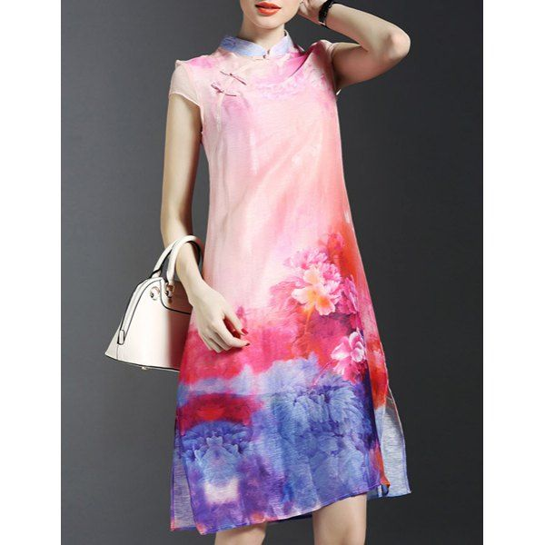 Trendy Pink Cami Dress and Print Side Slit Cheongsam Dress Twinset For Women #CLICK! #clothing, #shoes, #jewelry, #women, #men, #hats, #watches