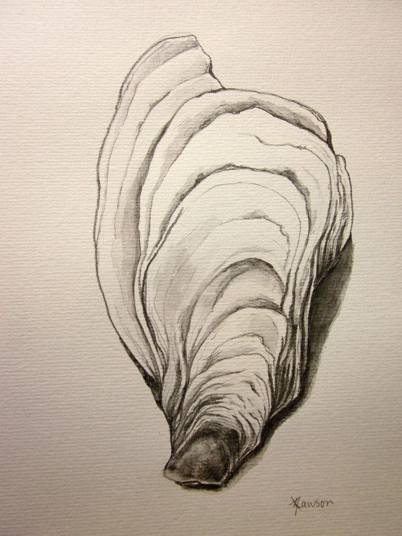 I love these oyster shells! For my unique drawing I used a water-soluble pencil. It gave me the freedom to follow the lines of the shell as well as add the texture to the work. $40.