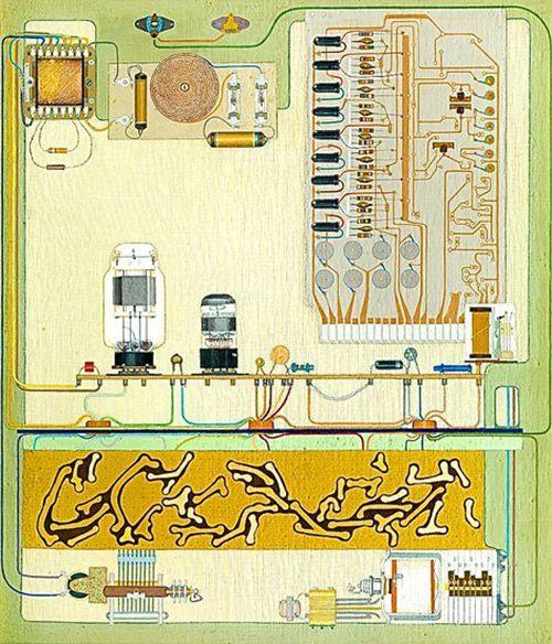 Kretsfamilj – Ulla Wiggen [1965] paintings of circuit boards