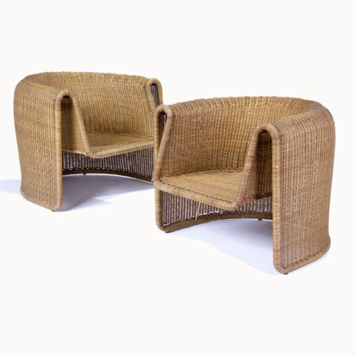 Eero Aarnio; Metal and Wicker Chairs, 1960s.