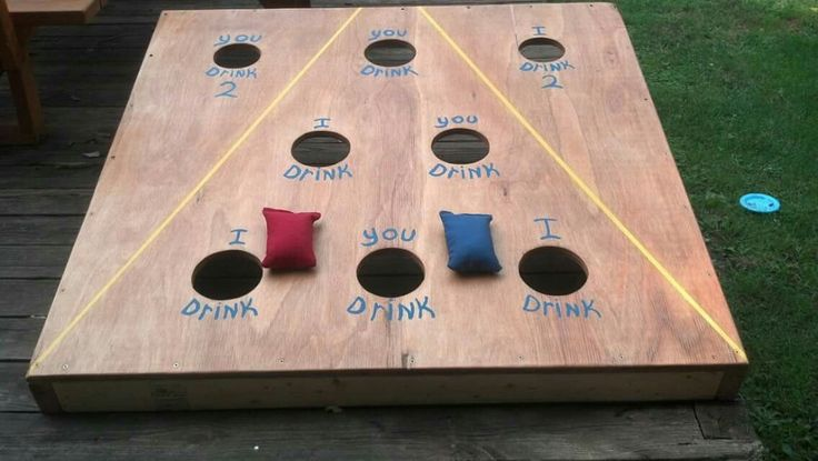 Corn hole drinking game! Better than beer pong!